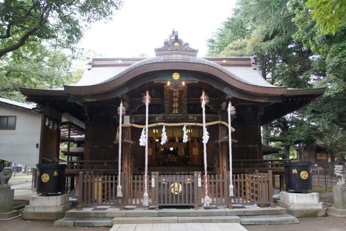 川口神社本殿。参拝者も少なくひっそりとしていました。